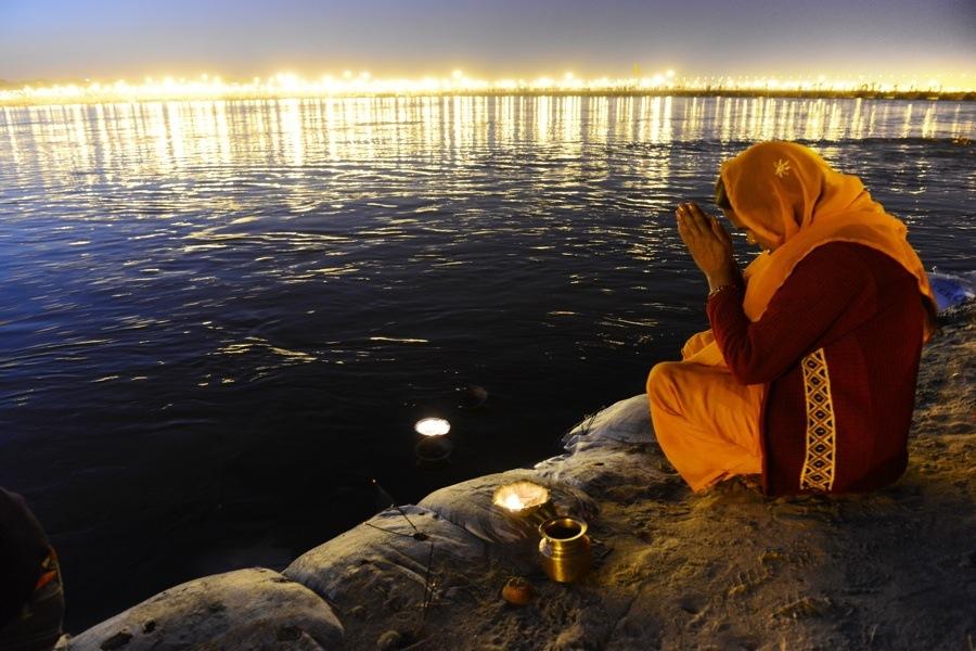 Woman Praying At Banks