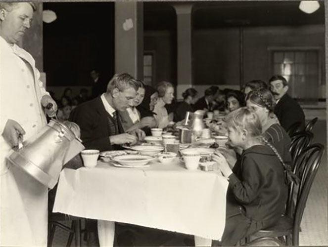 Group Of Germans Having Lunch At Ellis Island