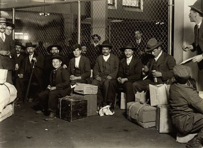 Group Of Italians In The Railroad Waiting Room