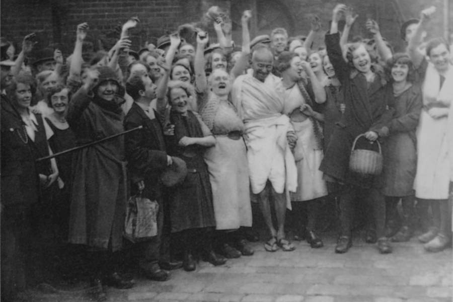 Gandhi With Cheering Crowd