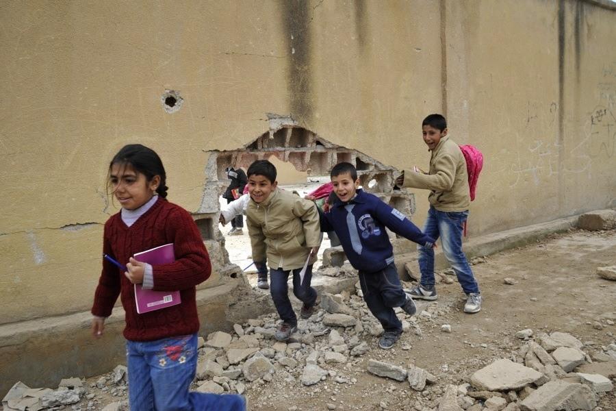 Kids Running Through Hole