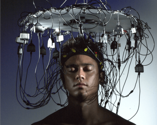 Man Head Connected Wires