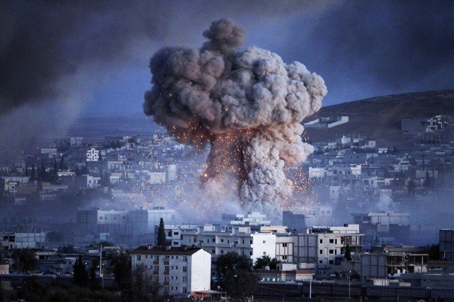 War Against Isis Explosion Smoke