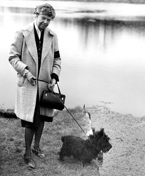 Eleanor Roosevelt Walking Dog