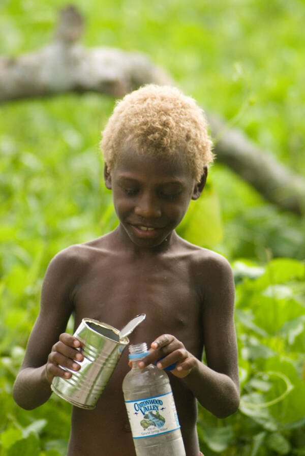 Blonde Melanesian Kid From Vanuatu