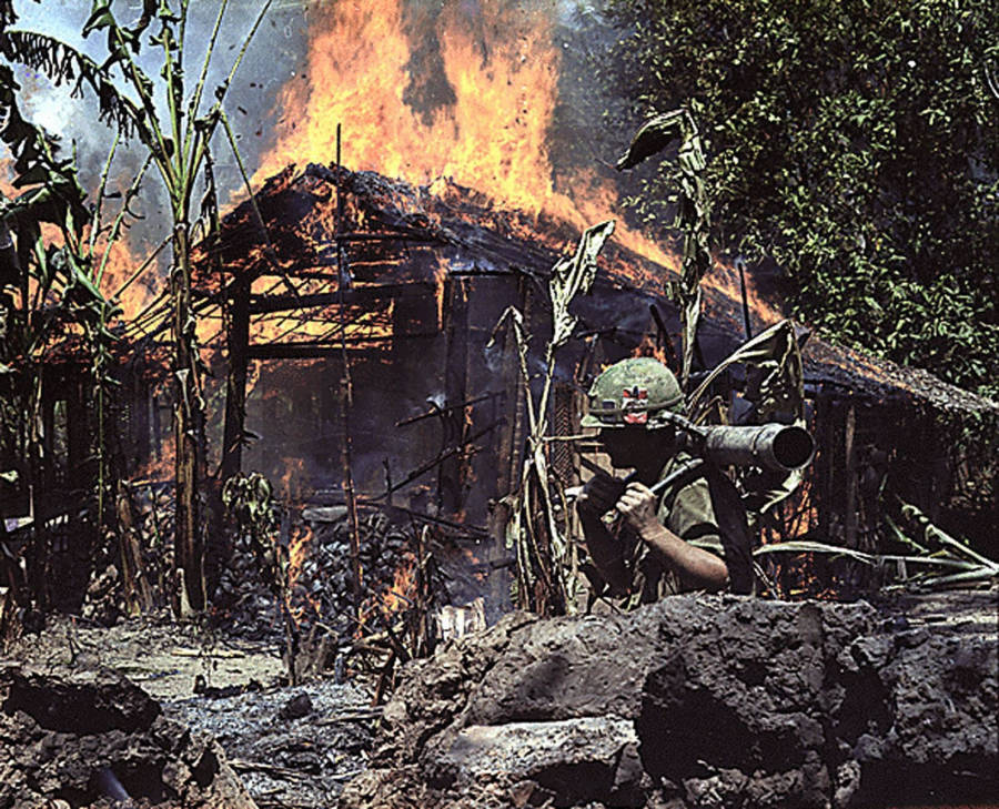 Burning House In Vietnam