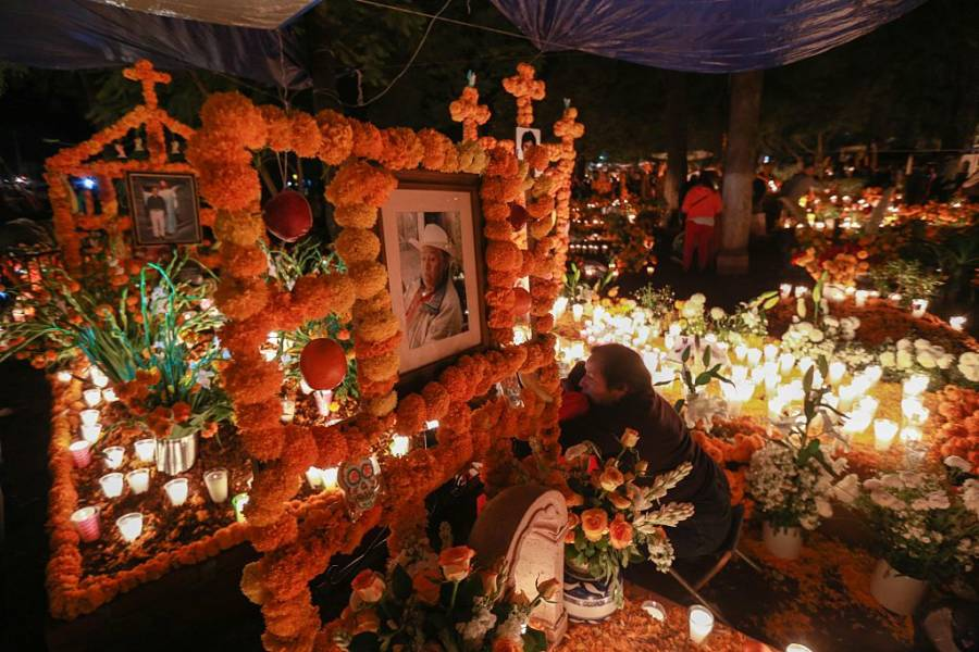 Grave Decorated For All Saints' Day