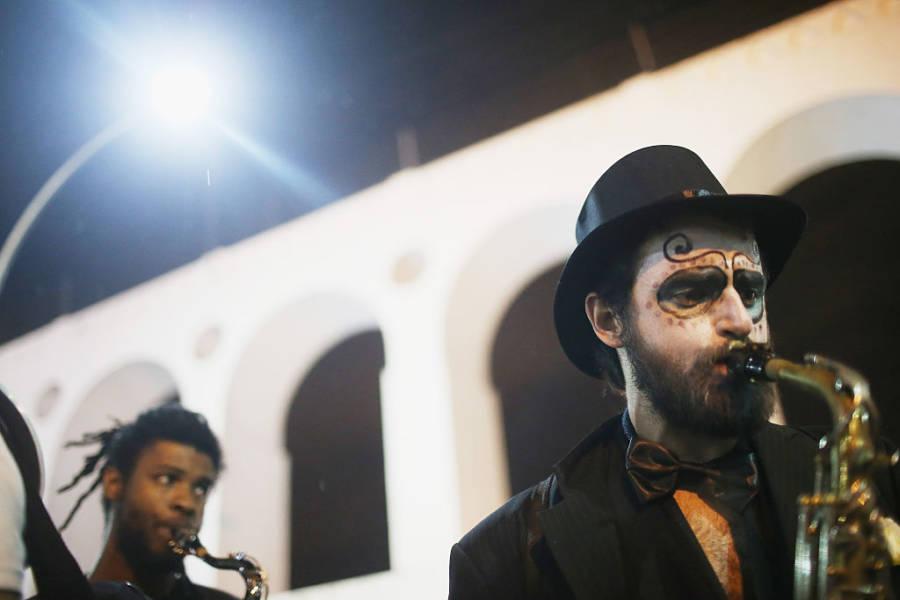 Saxophone Player Dia de los Muertos