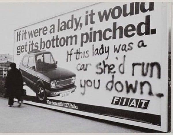 Sexist Car Ad With Graffiti Rebuttal