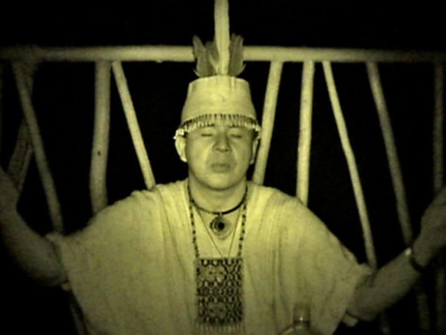 Shaman Starts Ayahuasca Ceremony