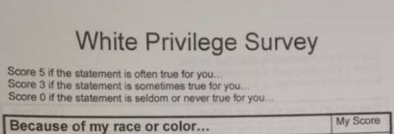 White Privilege Survey Top