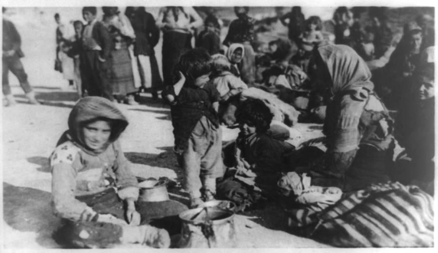 Child Refugees On Ground