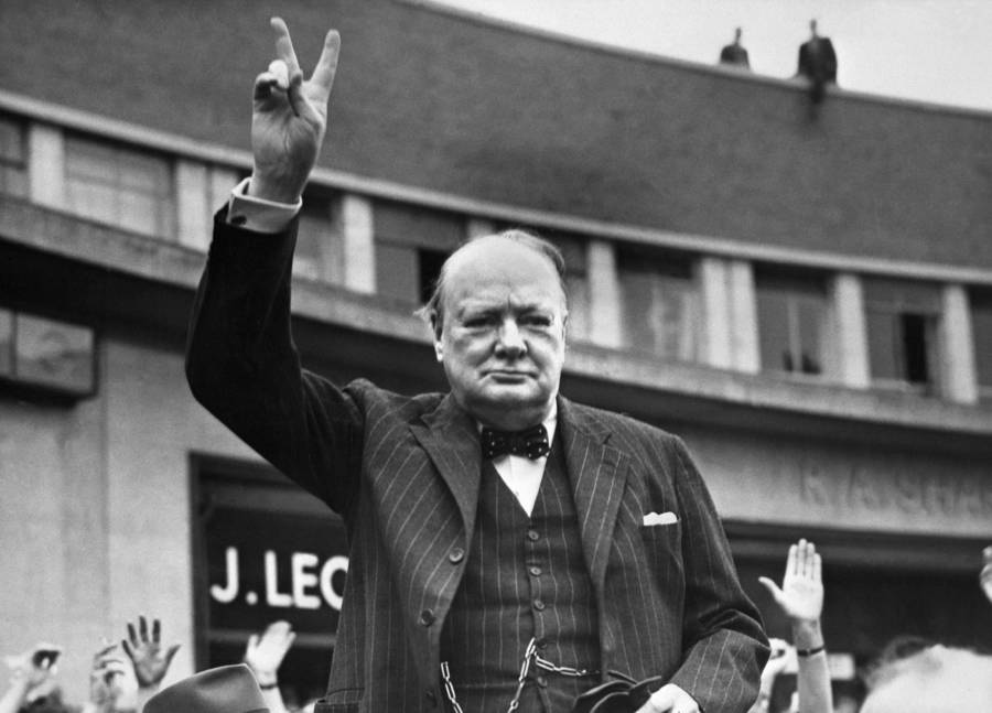 Winston Churchill Flashing The Victory Sign