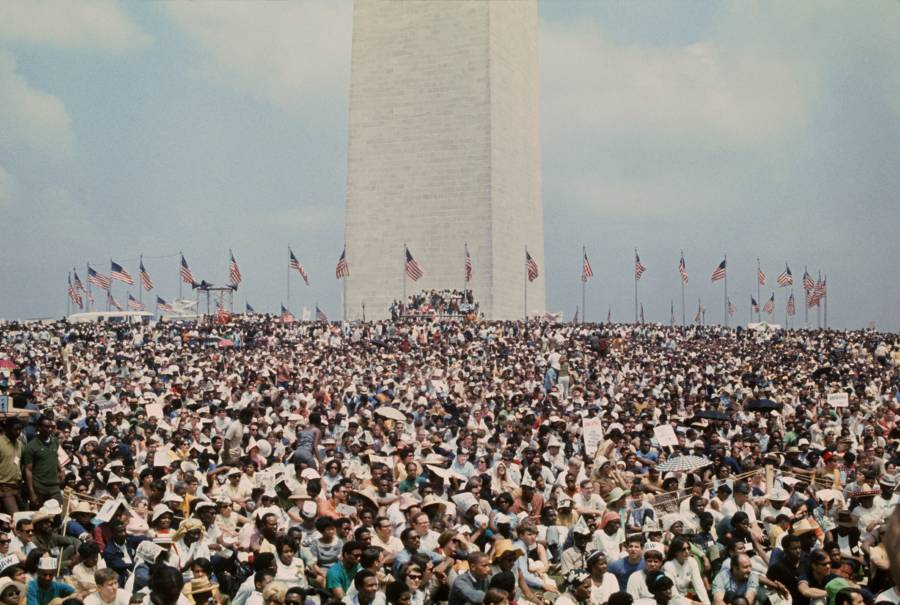 Crowd Around Washington Monument