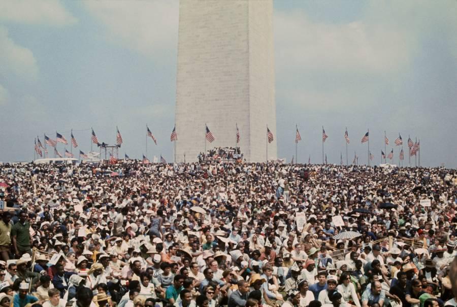 Crowd Around Washington Monument