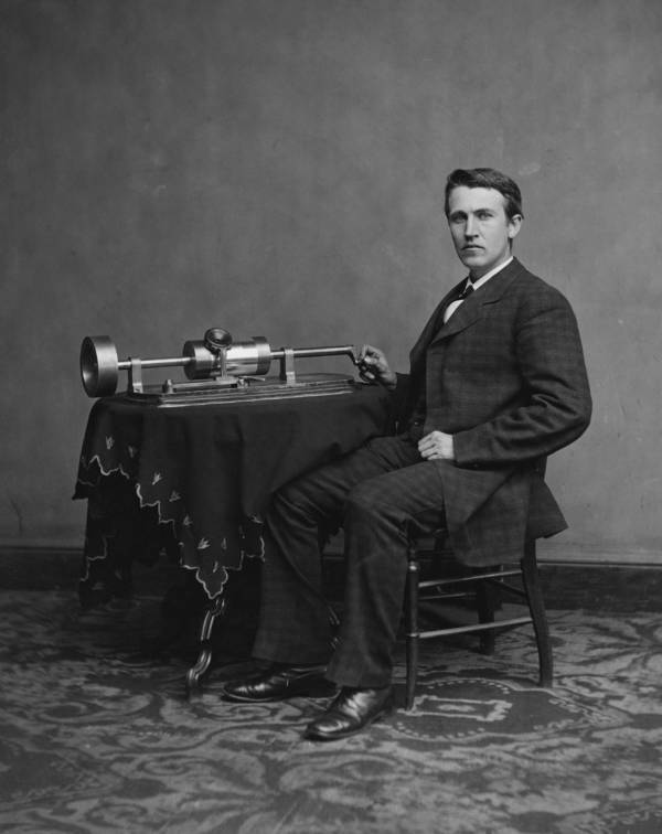 Thomas Edison With Phonograph