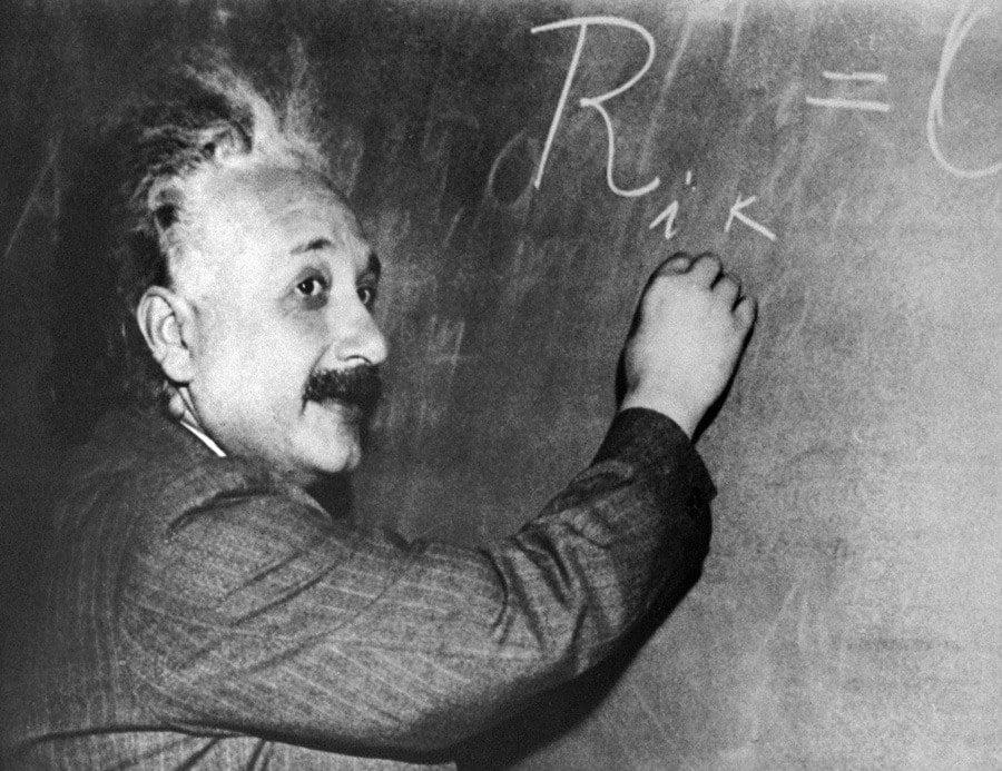 Albert Einstein At A Chalkboard