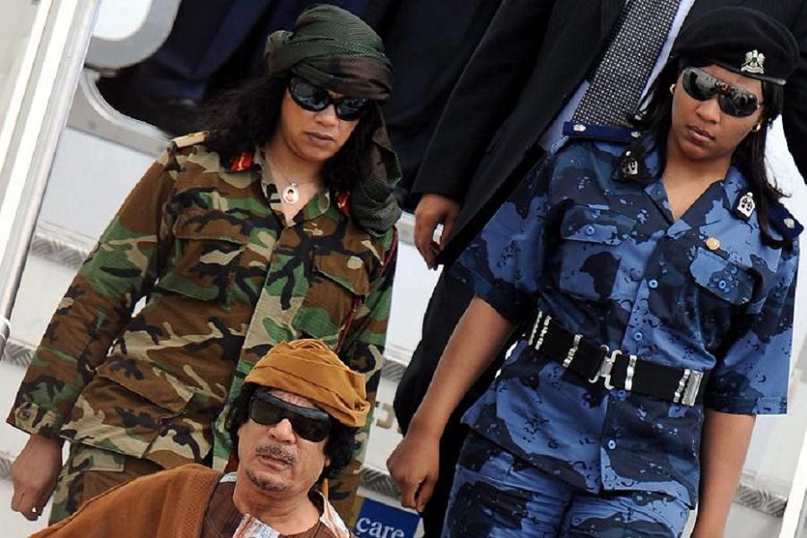 Gaddafi With Amazons