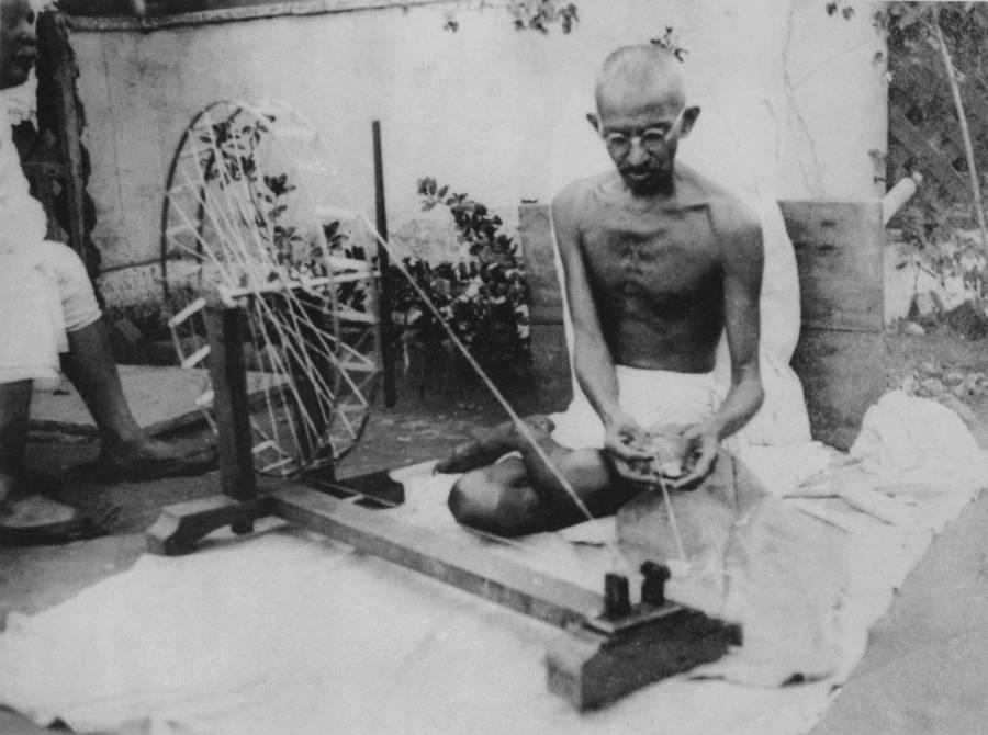 Gandhi At Spinning Wheel