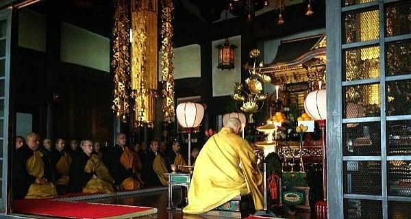 Monks Praying Indoor Gold Robes