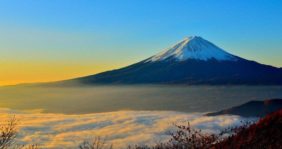 Mt Fuji Blue Sky Clouds