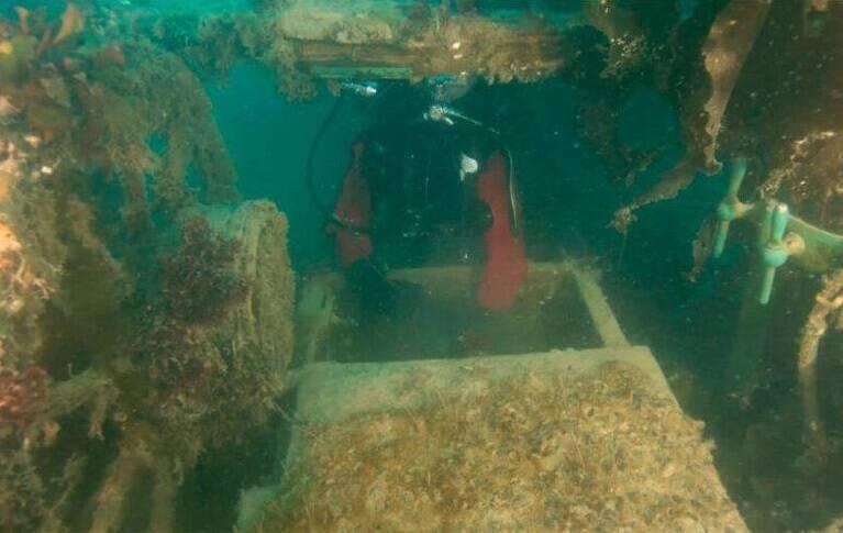 Researcher Diving Inside The HMS Terror