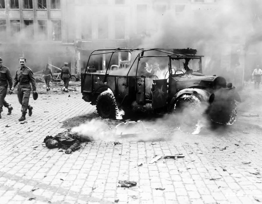 Burning Jeep Body