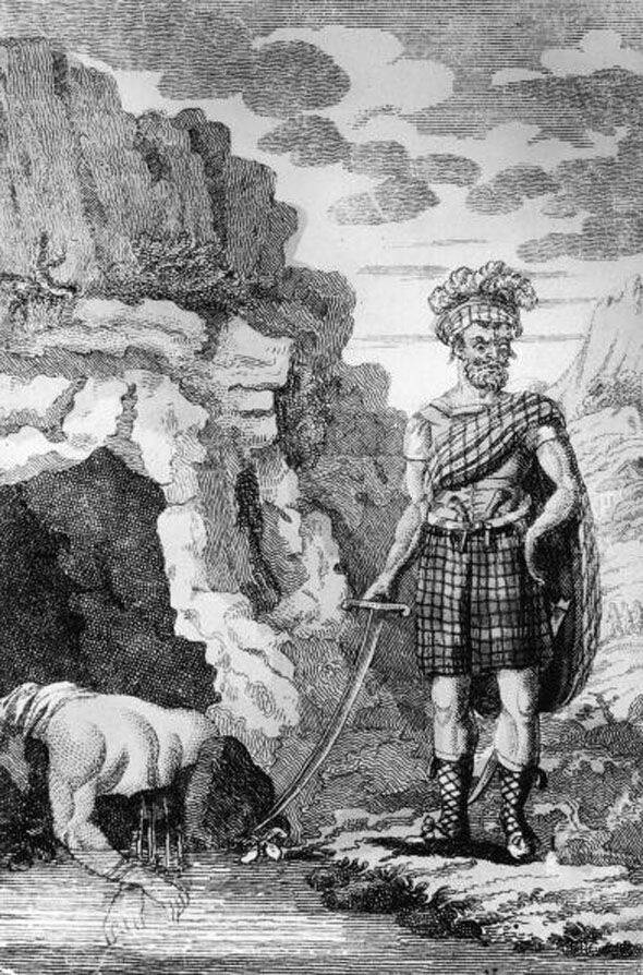 Drawing Of Sawney Bean Beside His Cave