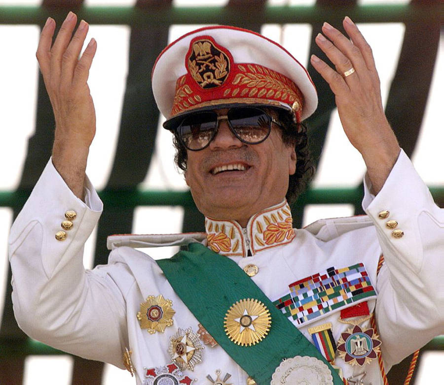 Gaddafi Hands Raised