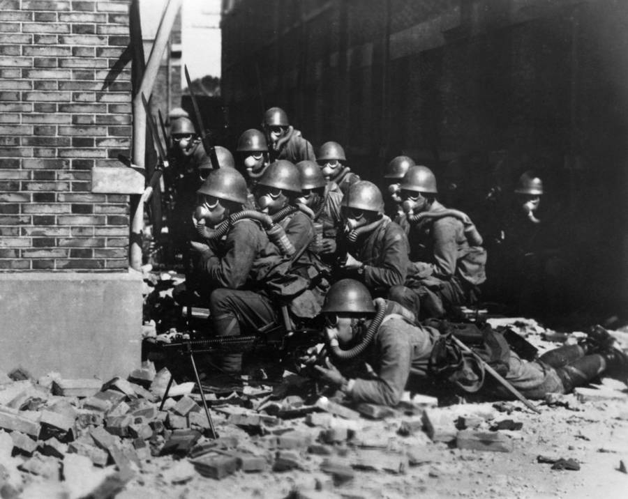 Gas Masks On Soldiers
