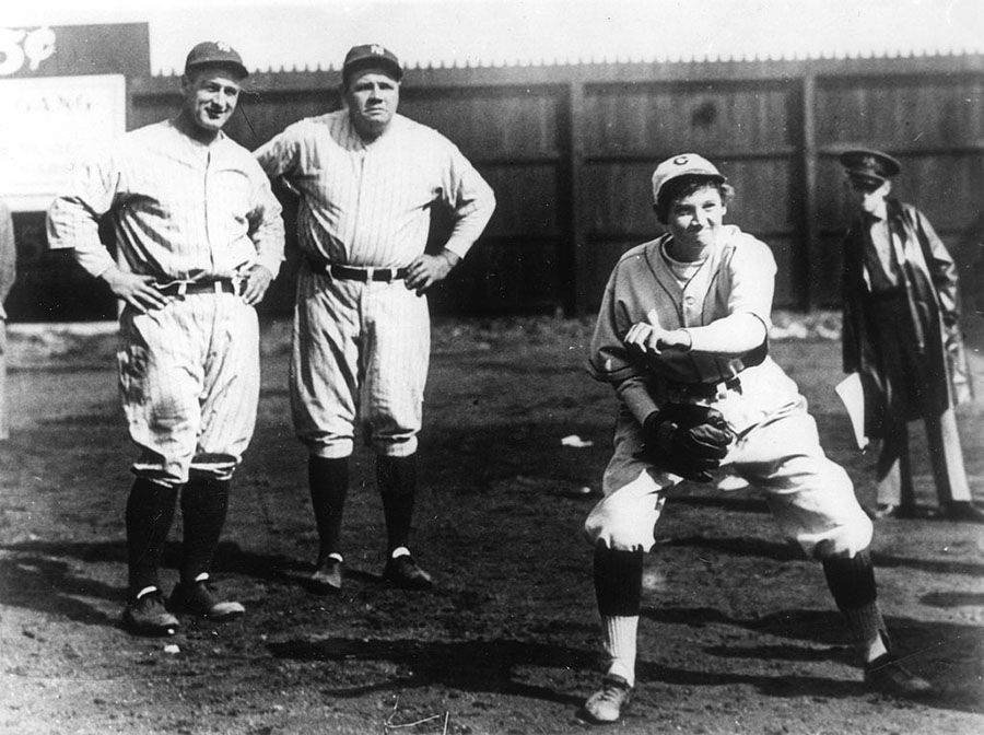Babe Ruth And Lou Gehrigh Watch Jackie Mitchell
