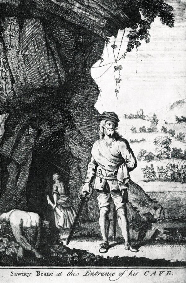 Sawney Bean And His Wife Outside Cave
