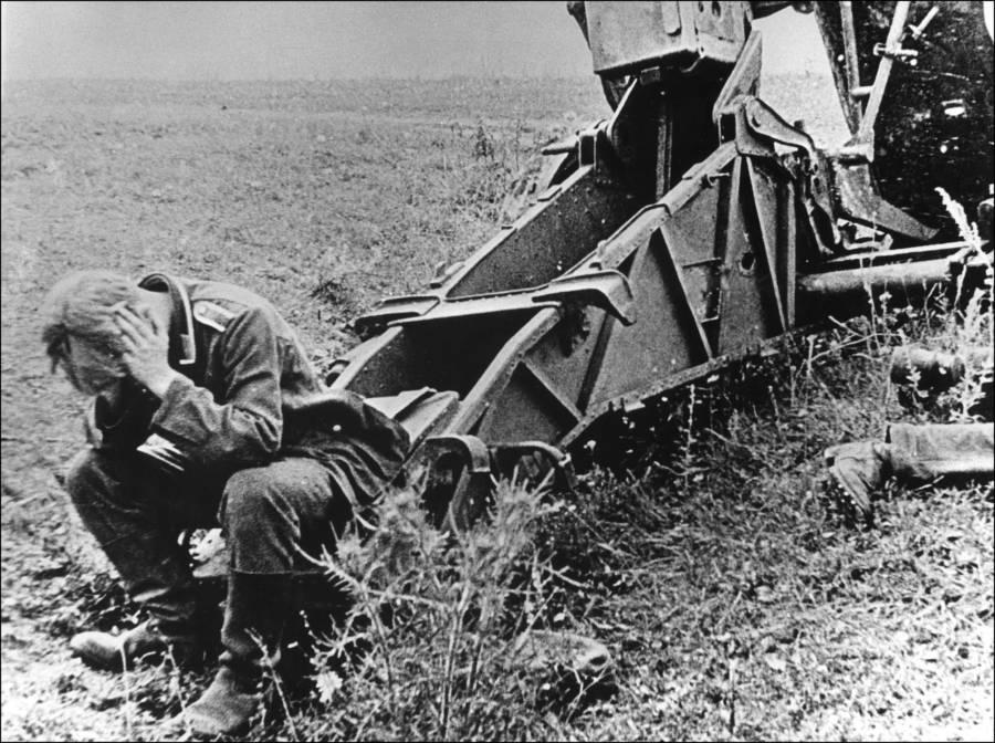 Soldier Head In Hands