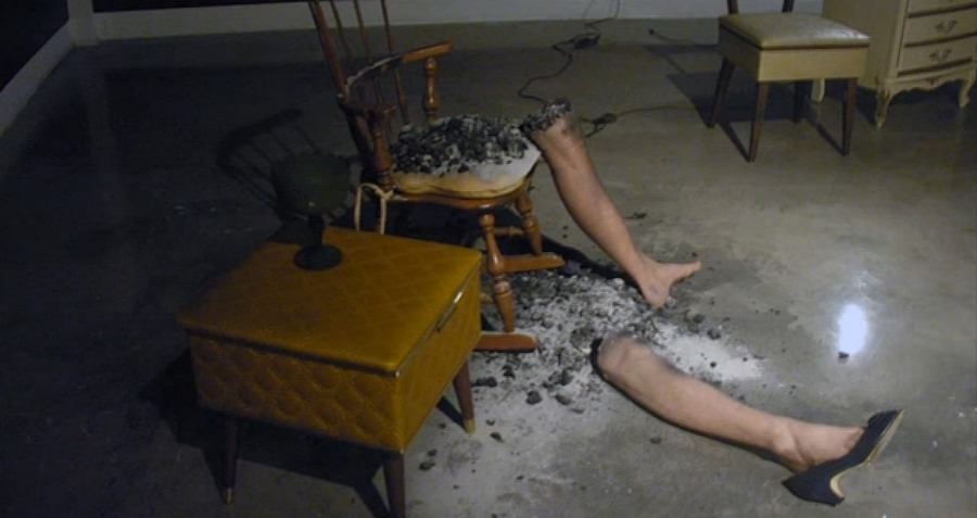 Staged Legs Chair Lamp Burned