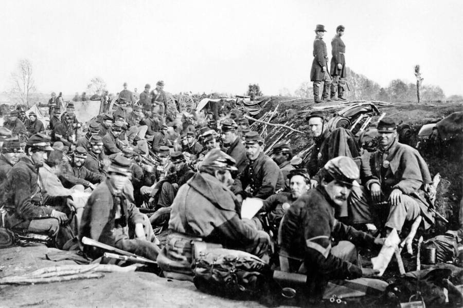 Union Soldiers Entrenched Along Rappahannock River