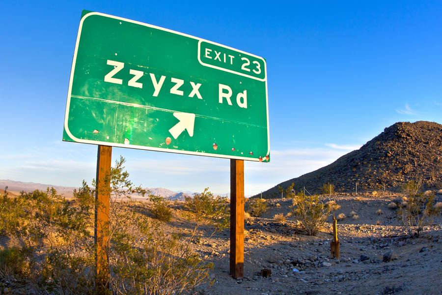 Highway Sign For Zzyzx