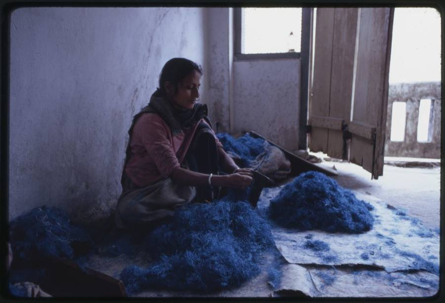 Nepalese Woman Blue Wool
