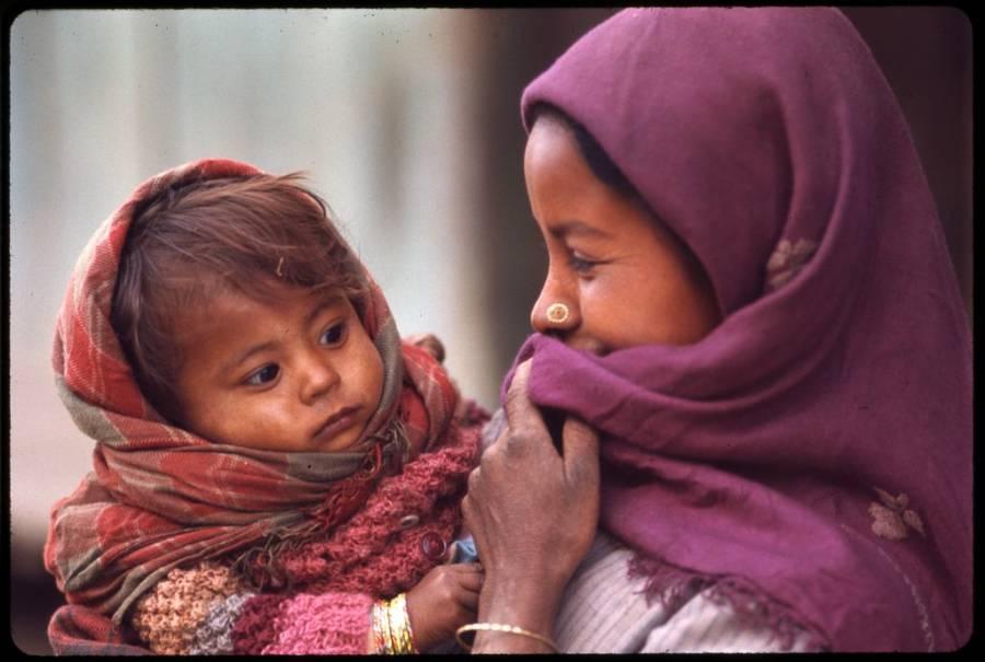 Nepalese Woman Purple Headscarf