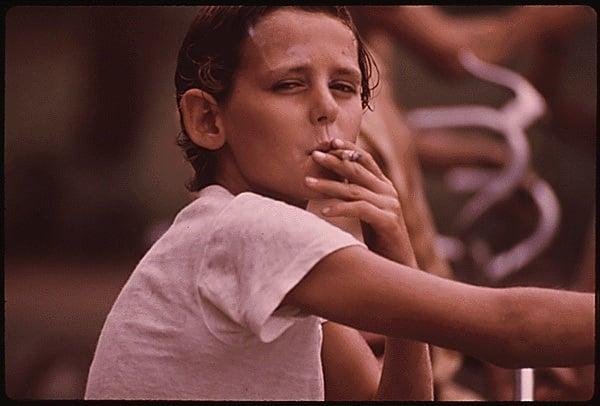 Donny Drags Cigarette Older Boy