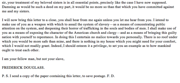 Douglass Letter Fourth Page