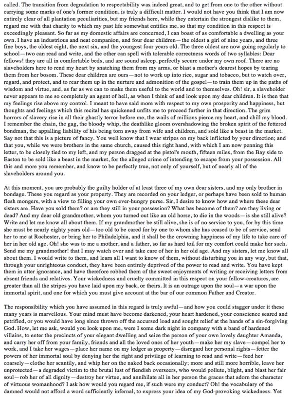 Frederick Douglass Letter