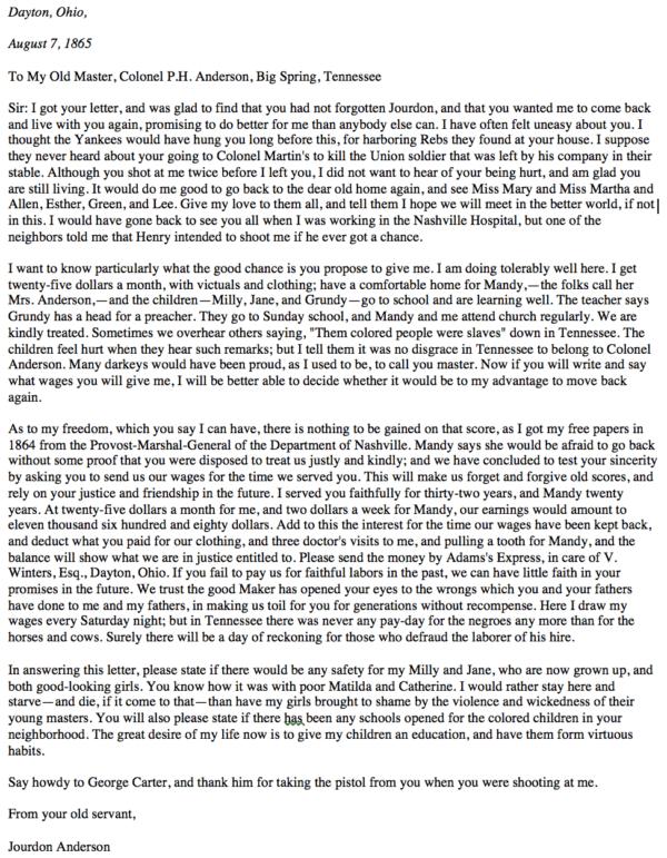 Jourdan Anderson Letter Transcript