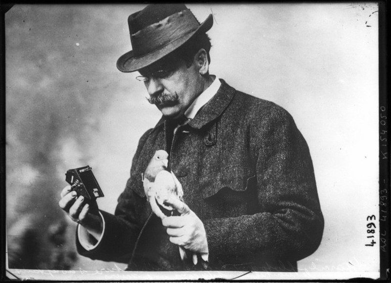 Julius Neubronner With Pigeon Camera