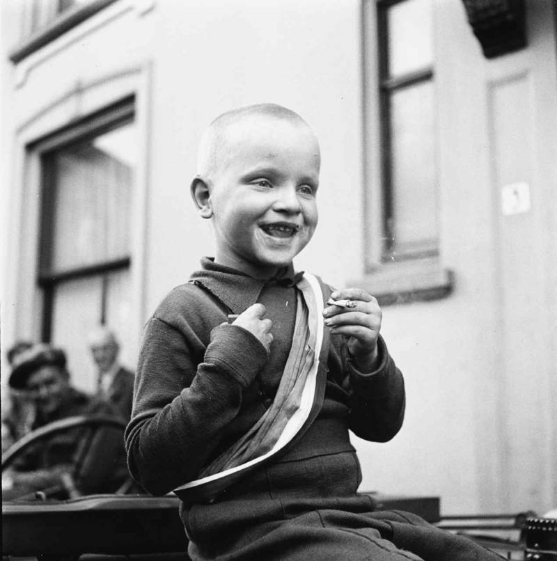 Little Boy Celebrates Liberation With Cigarette