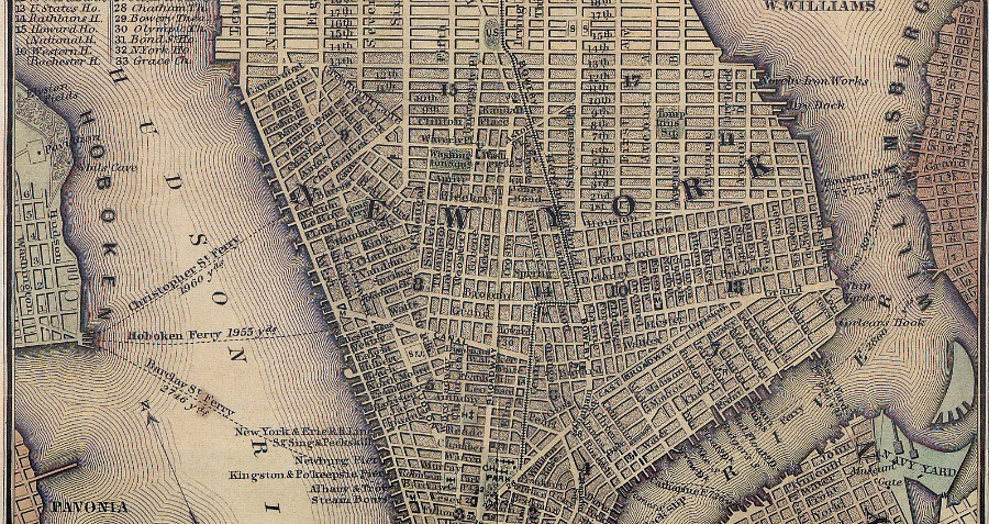 Map Lower Manhattan 19 Century Flour Riot