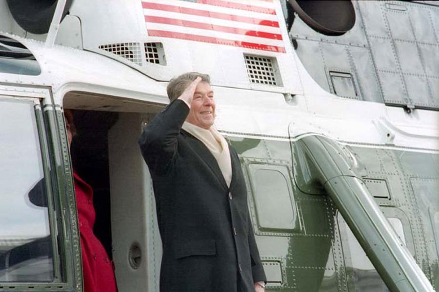 Ronald Reagan Saluting Helicopter
