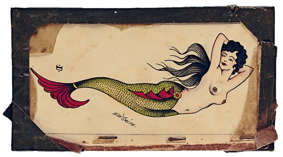 Vintage Tattoo Flash Mermaid
