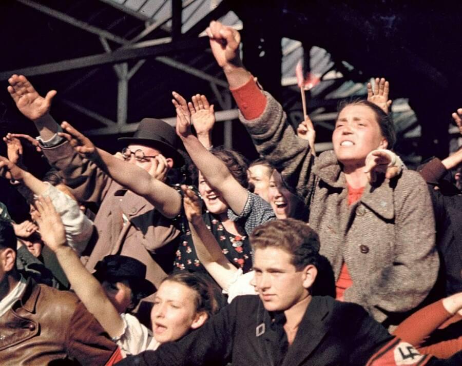 Crowd Doing Nazi Salute