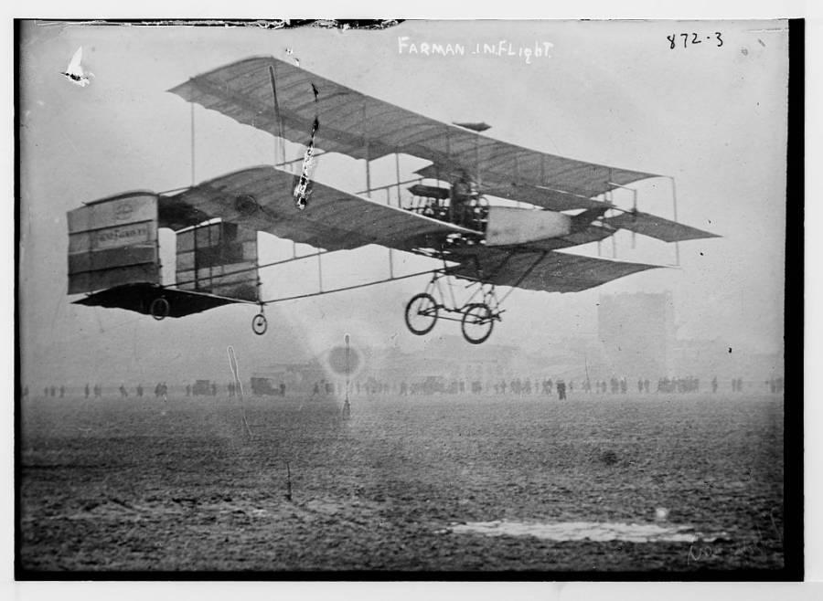 Farman In Flight
