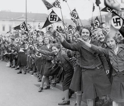 Germans Waving Nazi Flags